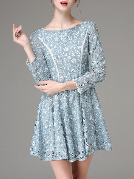 Aqua Lace Floral Long Sleeve Pierced Mini Dress