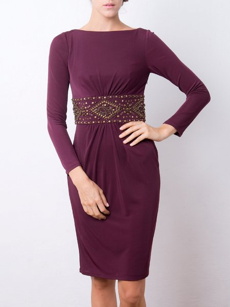 Wine Red Sheath Slash Neck Long Sleeve Beaded Midi Dress