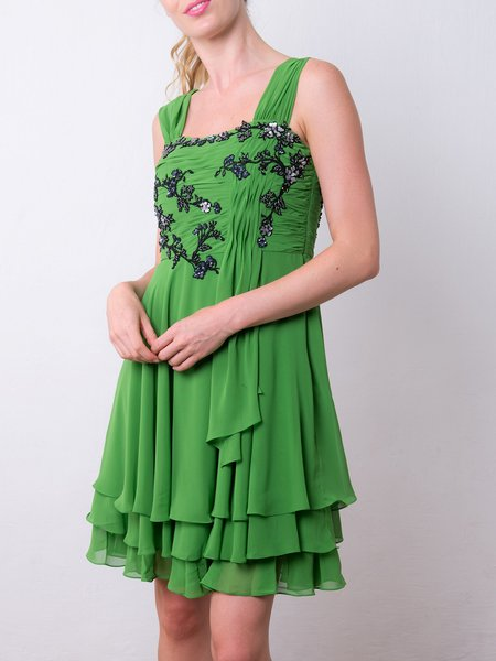 Green Square Neck Chiffon Spaghetti Girly Midi Dress