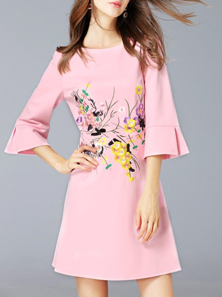 Pink Girly Floral Embroidered 3/4 Sleeve Mini Dress