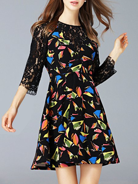 Black Cute A-line Geometric Printed Mini Dress