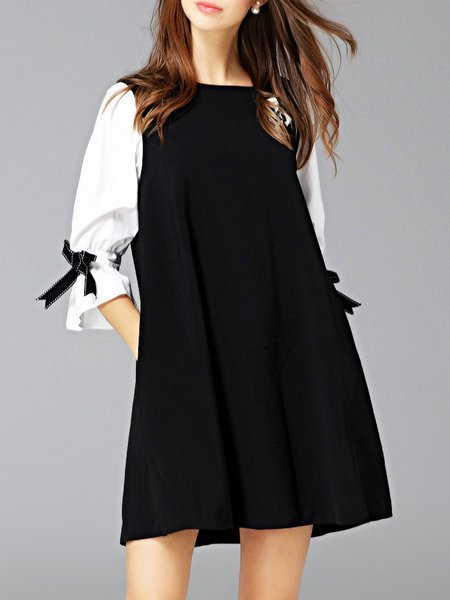Black Girly 3/4 Sleeve Color-block A-line Mini Dress with Brooch