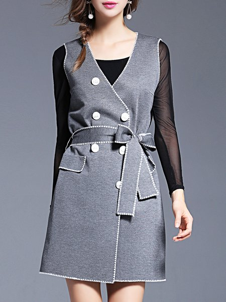 Gray Sleeveless V Neck Buttoned Vests with Belt