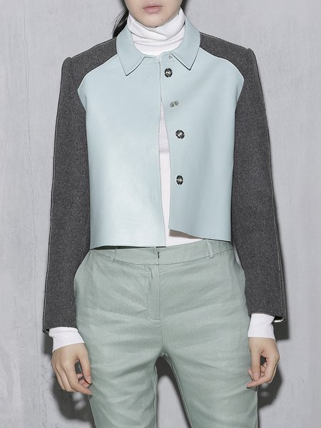 Light Blue Color-block Wool Leather Cropped Jacket