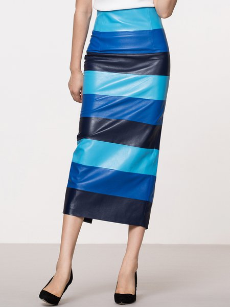 Blue Elegant Slit Stripes H-line Sheep Leather Midi Skirt