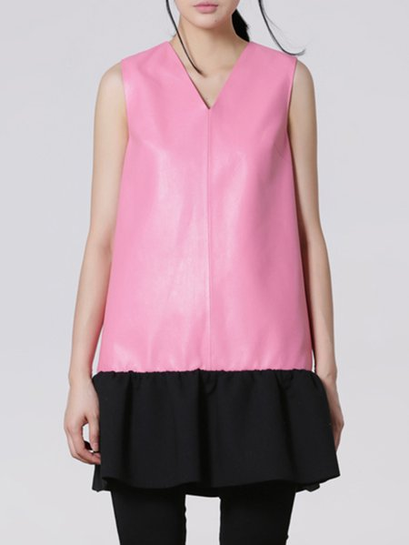 Pink V Neck Paneled Girly Leather Sleeveless Mini Dress