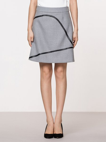 Gray Wool Blend Elegant Midi Skirt