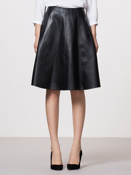Black Plain Elegant Zipper Pockets Sheep Leather Skirt