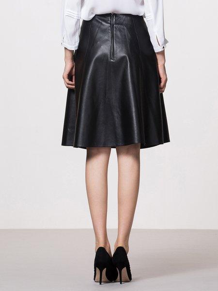 Black Plain Elegant Pockets Leather Skirt - StyleWe.com