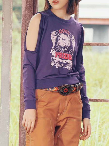 Purple H-line Abstract Casuald Top