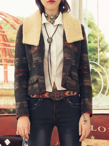 Dark Green Lapel Long Sleeve Polyester H-line Cropped Jacket