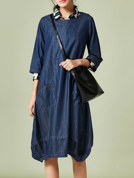 Dark Blue Cocoon Denim Half Sleeve Solid Midi Dress