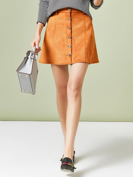 Yellow Solid Polyester Simple A-line Mini Skirt