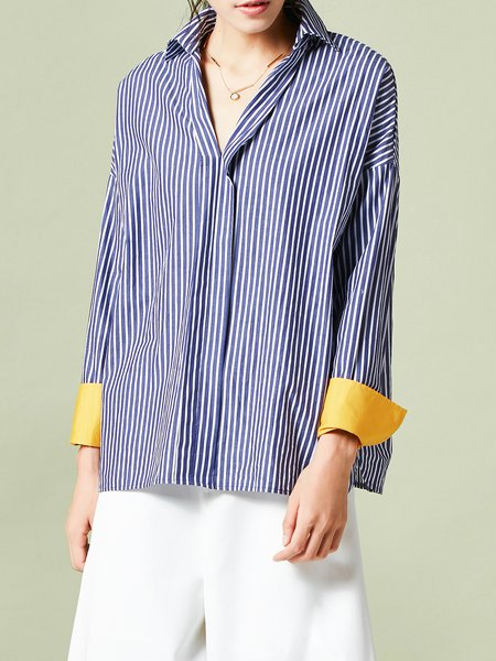 Blue Stripes Cotton Casual H-line Blouse