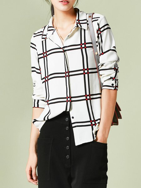 Viscose Checkered/Plaid Casual Long Sleeve Blouse