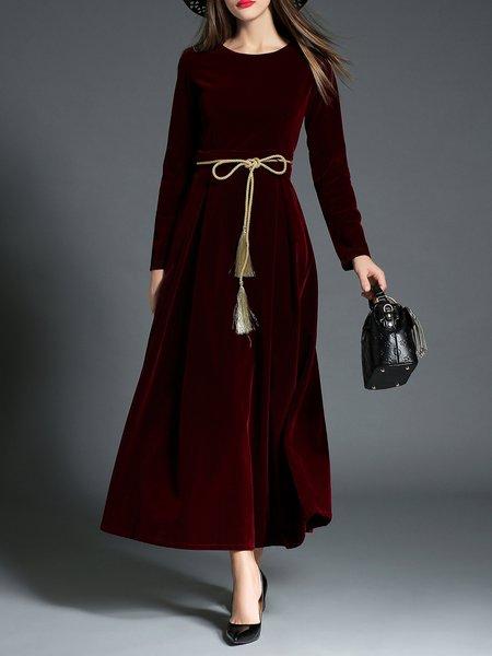 Elegant Long Sleeve Swing Solid Maxi Dress with Belt