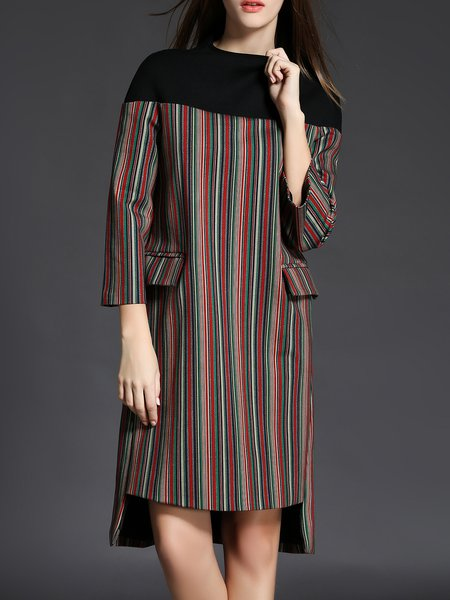 Brushed Crew Neck Cotton-blend 3/4 Sleeve Midi Dress