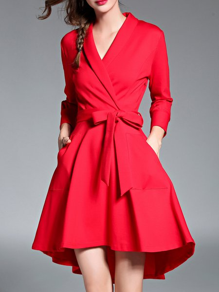 Red Surplice Neck Solid High Low Elegant Midi Dress with Belt