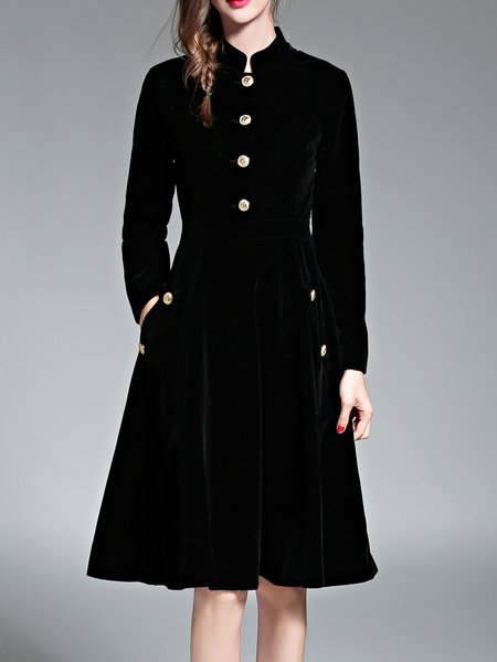 Black Elegant Pockets Buttoned Swing Midi Dress