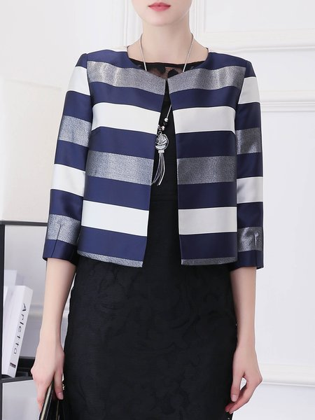 Navy Blue Stripes Color-block 3/4 Sleeve Blazer