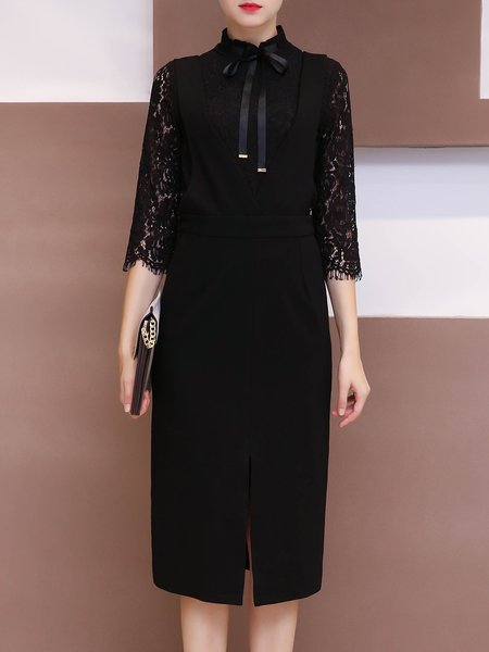 Black Slit Elegant Midi Dress