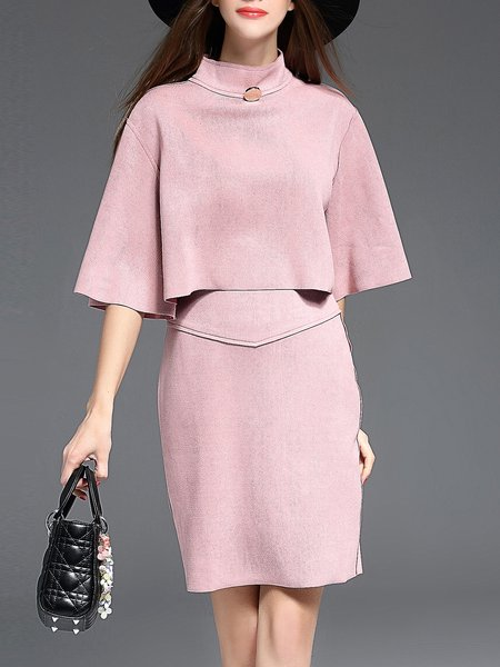 Pink Two Piece Suede Solid Half Sleeve Midi Dress