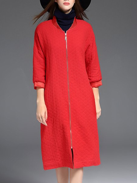 Red Zipper Solid H-line 3/4 Sleeve Coat
