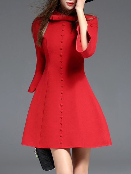 Red Buttoned Stand Collar 3/4 Sleeve Skater Mini Dress
