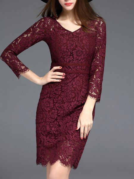 Burgundy Lace 3/4 Sleeve Floral V Neck Midi Dress