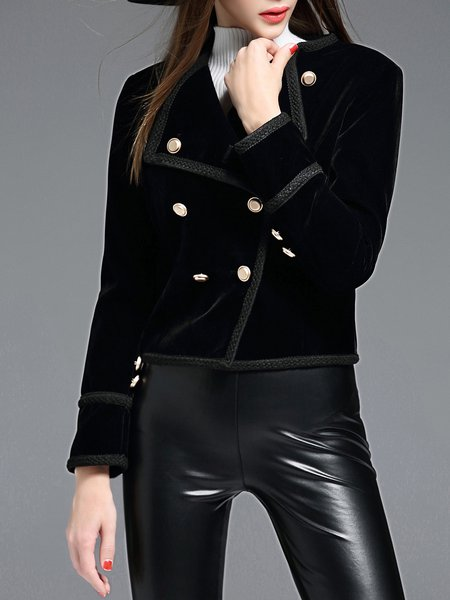 Black Velvet Buttoned Long Sleeve Lapel Cropped Jacket