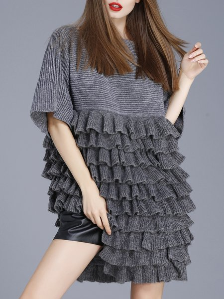 Girly Ruffled Slash Neck Asymmetrical Tunic
