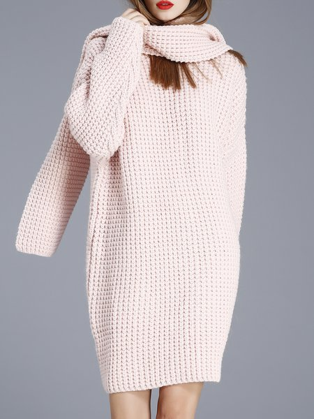 Pink Wool Alpaca Shift Plain Sweater Dress with Scarf