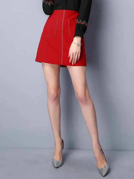 A-line Pockets Simple Mini Skirt