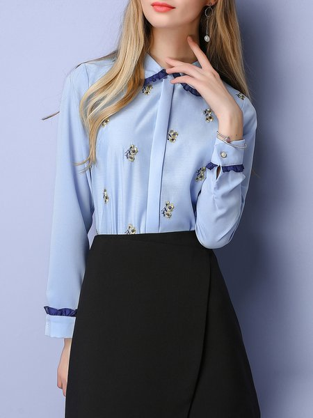 Blue Peter Pan Collar Embroidered Long Sleeve Blouse