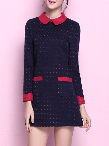 Dark Blue Polka Dots Pockets Girly A-line Mini Dress