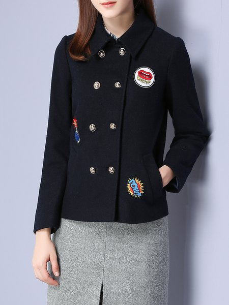 Navy Blue Long Sleeve Embroidered Cropped Jacket