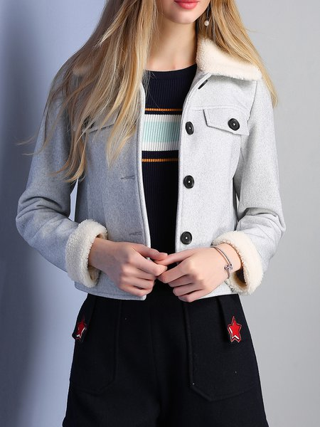 Gray Buttoned Stand Collar Plain Cropped Jacket