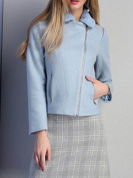 Blue Wool Blend Pockets Zipper Cropped Jacket