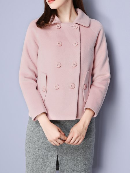 Pink Buttoned H-line Long Sleeve Cropped Jacket