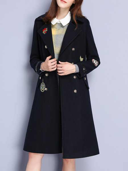 Navy Blue Cute Embroidered Lapel Coat