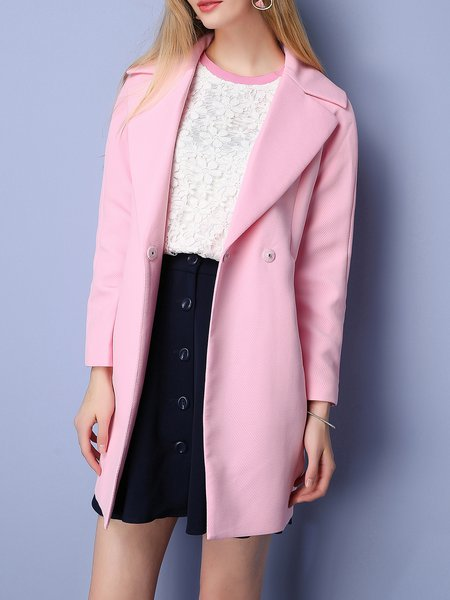 Pink Lapel Pockets Long Sleeve Coat