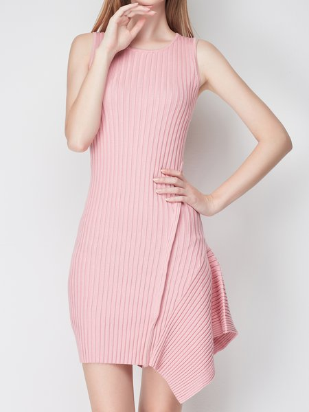 Asymmetric Crew Neck Sleeveless Sweater Dress