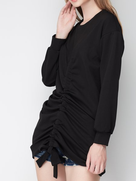Shirred Solid Statement Long Sleeve Tunic