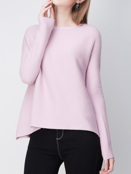 Pink Cashmere Simple Plain Asymmetric Sweater