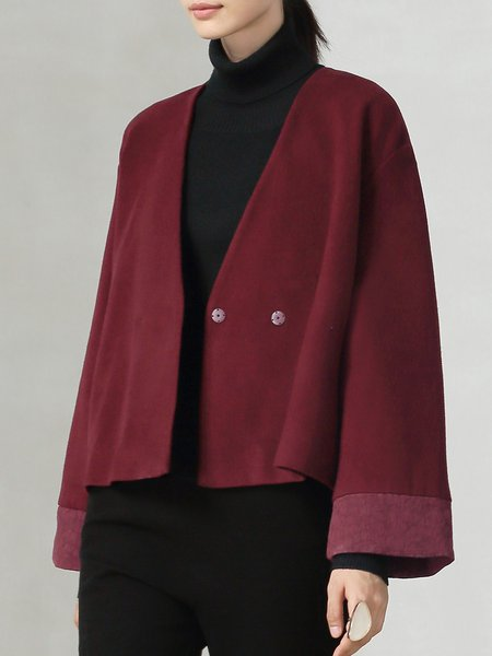 Red Surplice Neck Simple Cropped Jacket