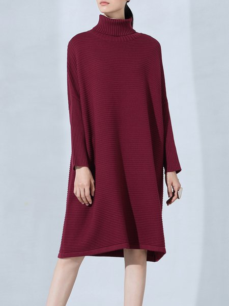 Wine Red Plain Turtleneck Long Sleeve Sweater Dress