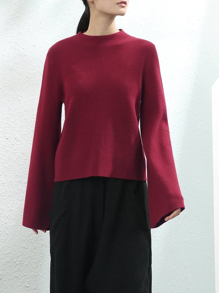 Burgundy Flared Sleeve Turtleneck Knitted Sweater