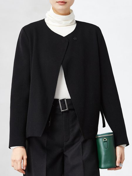 Black Asymmetric Simple Long Sleeve Cropped Jacket