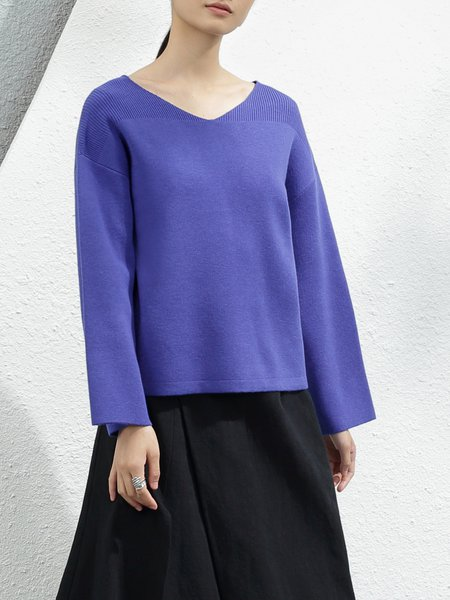 Royal Blue Long Sleeve V Neck Knitted Solid Sweater