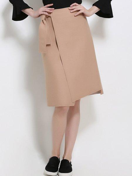 Camel Elegant Asymmetric Slit Solid Midi Skirt